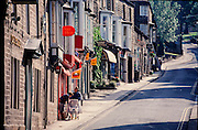 Two women and a baby carriage in Pateley Bridge, Northern Yorkshire, England