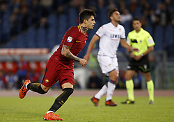 October 25, 2017 - Rome, Italy - Roma Diego Perotti celebrates after scoring the winning goal on a penalty kick during the Serie A soccer match between Roma and Crotone at the Olympic stadium. Roma won 1-0. (Credit Image: © Riccardo De Luca/Pacific Press via ZUMA Wire)