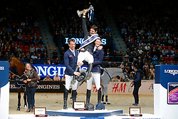 Guerdat Steve, (SUI), Smolders Harrie, (NED), Deusser Daniel, (GER)<br /> Winner of the Longines FEI World Cup Jumping Final III B<br /> © Dirk Caremans
