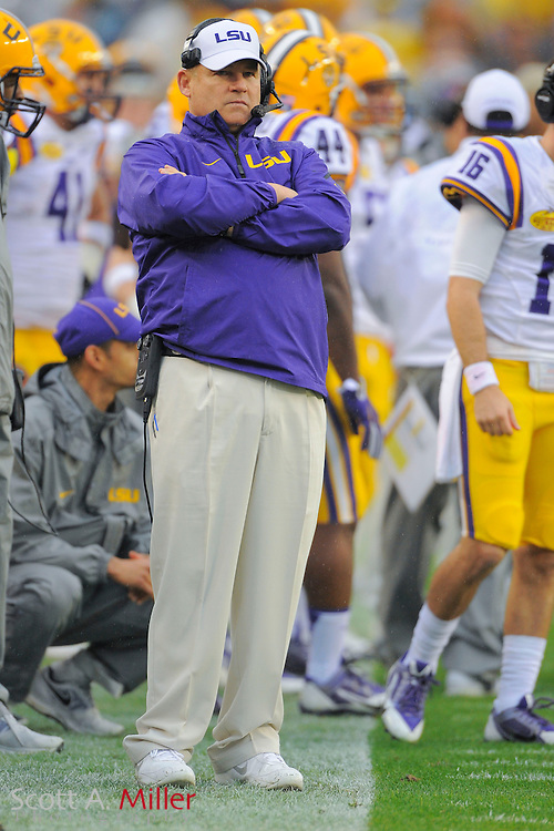 LSU Tigers head coach Les Miles the Tigers 21-14 win over the Iowa Hawkeyes in the 2014 Outback Bowl at Raymond James Stadium January 1, 2014 in Tampa, Florida.      <br /> <br />  &copy; 2014 Scott A. Miller