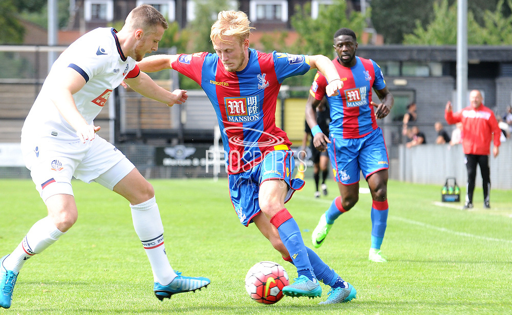 Christian Scales charging forward during the U21 Professional Development League match between U21 Crystal Palace and U21 Bolton Wanderers at Selhurst Park, London, England on 17 August 2015. Photo by Michael Hulf.