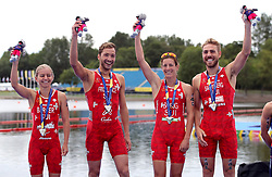 Silver medal winners Switzerland's Lisa Berger, Andrea Salvisberg, Nicola Spirig and Sylvain Fridelance for the Triathlon Mixed team relay during day ten of the 2018 European Championships at Strathclyde Country Park, Lanarkshire. PRESS ASSOCIATION Photo. Picture date: Saturday August 11, 2018. See PA story TRIATHLON European. Photo credit should read: John Walton/PA Wire. RESTRICTIONS: Editorial use only, no commercial use without prior permission