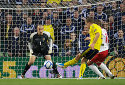 DUBLIN, REPUBLIC OF IRELAND - Wednesday, May 25, 2011: Wales' goalkeeper Boaz Myhill is helpless to prevent Scotland's James Morrison scoring the equalising goal during the Carling Nations Cup match at the Aviva Stadium (Lansdowne Road). (Photo by David Rawcliffe/Propaganda)