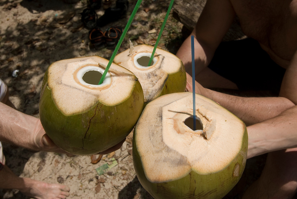 Coconutmilk out of fruit. Havelock Island. Andaman Isles. India.