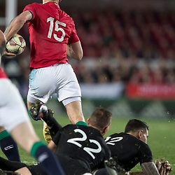 Aaron Cruden and Sonny Bill Williams  miss tackle on Liam Williams during game 7 of the British and Irish Lions 2017 Tour of New Zealand, the first Test match between  The All Blacks and British and Irish Lions, Eden Park, Auckland, Saturday 24th June 2017<br /> (Photo by Kevin Booth Steve Haag Sports)<br /> <br /> Images for social media must have consent from Steve Haag