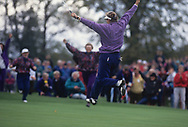 Sweden Catrin Nilsmark - Gothenburg, Sweden sinks the winning putt to celebrate with the team<br /> Mickey Walker (Captain) - England with the trophy<br /> Sweden Helen Alfredsson - Gothenburg, Sweden<br /> England Laura Davies - Coventry, England<br /> Belgium Florence Descampe - Brussels, Belgium<br /> England Kitrina Douglas - England<br /> England Trish Johnson - Bristol, England<br /> Sweden Liselotte Neumann - Finspang, Sweden<br /> England Alison Nicholas - Gibraltar<br /> Scotland Dale Reid - Ladybank, Scotland<br /> Scotland Pam Wright - Torphins, Scotland<br /> The second Solheim Cup golf match took place from 2 October to 4 October 1992 at Dalmahoy Country Club, Edinburgh, Scotland. The European team beat the United States team 11&frac12; points to 6&frac12;, to win the trophy for the first time<br /> <br /> Picture Credit:  Mark Newcombe / www.visionsingolf.com