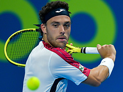 Marco Cecchinato of Italy returns the ball to Dusan Lajovic of Serbia during their Quarter - Final of ATP Qatar Open Tennis match at the Khalifa International Tennis Complex in Doha, capital of Qatar, on January 03, 2019. Marco Cecchinato won 2-0  (Credit Image: © Nikku/Xinhua via ZUMA Wire)