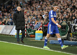 Chelsea Manager, Jose Mourinho shouts at Chelsea's Filipe Luis but he doesn't acknowledge him. - Photo mandatory by-line: Alex James/JMP - Mobile: 07966 386802 - 17/01/2015 - SPORT - football - Swansea - Liberty Stadium  - Swansea  v Chelsea  -