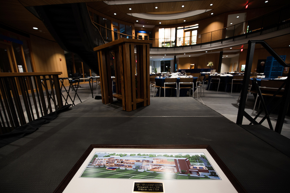 A rendering of the original plans sit on the podium after the John J. Hemmingson Center Private Dinner night Thursday, July 16, 2015. (Photo by Rajah Bose)