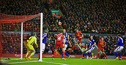 05.01.2014, Anfield, Liverpool, ENG, FA Cup, FC Liverpool vs FC Oldham Athletic, 3. Runde, im Bild Liverpool's captain Steven Gerrard sees his header go over the bar against Oldham Athletic // during the English FA Cup 3rd round match between Liverpool FC and Oldham Athletic FC at the Anfield in Liverpool, Great Britain on 2014/01/05. EXPA Pictures © 2014, PhotoCredit: EXPA/ Propagandaphoto/ David Rawcliffe<br /> <br /> *****ATTENTION - OUT of ENG, GBR*****