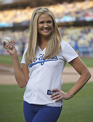 October 8, 2016 - Los Angeles, California, U.S - Nancy O'Dell is the married woman who rejected Donald Trump's advances, according to comments he made in a lewd conversation in 2005 that surfaced Friday October 7, 2016. FILE PHOTO: Television personality, Nancy O'Dell throws the first pitch prior to the game between the Los Angeles Dodgers and the Los Angeles Angels of Anaheim on Tuesday May 17, 2016 at Dodger Stadium in Los Angeles California. Dodgers defeat Angels, 5-1. (Credit Image: © Prensa Internacional via ZUMA Wire)