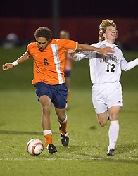 Virginia Cavaliers D/MF Ian Holder (6).  The Virginia Cavaliers Men's Soccer Team lost to the Wake Forest Demon Decons in penalty kicks in the semifinal round of the 2006 ACC Tournament on November 3, 2006 at the Maryland Soccerplex in Germantown, MD.