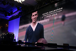 A tribute to Peter Brabrook on the big screen during the Professional Footballers' Association Awards 2017 at the Grosvenor House Hotel, London