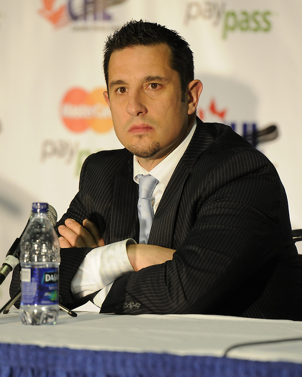 Windsor Spitfires' coach Bob Boughner at the 2010 MasterCard Memorial Cup in Brandon, MB. Photo by Aaron Bell/CHL Images