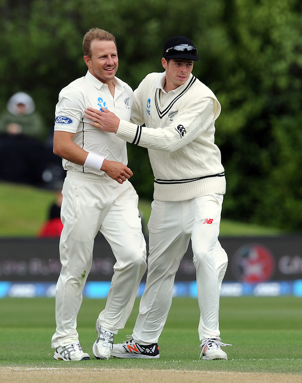 New Zealand's Neil Wagner, left, is congratulated by Mitchell Santner after dismissing Sri Lanka's Milinda Siriwardana for 35 on day three of the first International Cricket Test, University Cricket Oval, Dunedin, New Zealand, Saturday, December 12, 2015. Credit:SNPA / Ross Setford