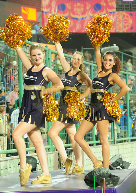 KKR cheer leaders during match 17 of the Pepsi IPL 2015 (Indian Premier League) between The Delhi Daredevils and The Kolkata Knight Riders held at the Ferozeshah Kotla stadium in Delhi, India on the 20th April 2015.<br /> <br /> Photo by:  Arjun Panwar / SPORTZPICS / IPL