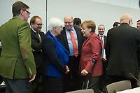 18 FEB 2014, BERLIN/GERMANY:<br /> Michael Grosse-Broemer, CDU, 1. Parl. Geschaeftsfuehrer, Gerda Hasselfeldt, CSU, Vorsitzende CSU-Landesgruppe,  Peter Altmaier, CDU, Kanzleramtsminister, Angela Merkel, CDU, Bundeskanzlerin, und Volker Kauder (Ruecken), CDU, CDU/CSU Fraktionsvorsitzender, (v.L.n.R.), im Gespraech, vor Beginn der CDU/CSU Fraktionssitzung, Deutscher Bundestag<br /> IMAGE: 20140218-01-016<br /> KEYWORDS: Gespräch, Michael Grosse-Brömer