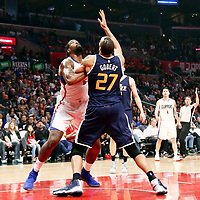 25 March 2016: LA Clippers center DeAndre Jordan (6) vies for the rebound with Utah Jazz center Rudy Gobert (27) during the Los Angeles Clippers 108-95 victory over the Utah Jazz, at the Staples Center, Los Angeles, California, USA.