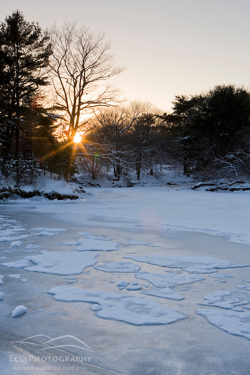 A frozen tidal pond at the Creek Farm Reservation in Portsmouth, New Hampshire.