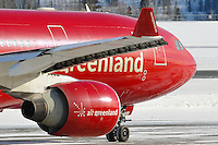 Air Greenland Airbus A330 close-up of the winglet, engine nacelle, and nose