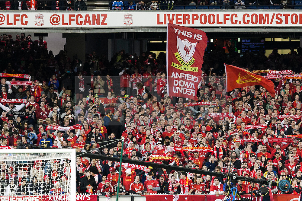 © Licensed to London News Pictures. 24/7/2013. Liverpool supporters  during the Melbourne Victory Vs Liverpool F.C at the Melbourne Cricket Ground, Melbourne, Australia. Photo credit : Asanka Brendon Ratnayake/LNP