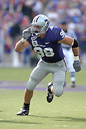 MANHATTAN, KS - OCTOBER 06:  Manhattan, KS - October 06:  Linebacker Ian Campbell #98 of the Kansas State Wildcats rushes up field against the Kansas Jayhawks, during a NCAA football game on October 06, 2007 at Bill Snyder Family Stadium in Manhattan, Kansas.  Kansas won the game 30-24.  (Photo by Peter Aiken/Getty Images)