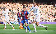 Dwight Gayle looks to get past Chris Smalling during the Barclays Premier League match between Crystal Palace and Manchester United at Selhurst Park, London, England on 31 October 2015. Photo by Michael Hulf.