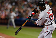 Boston first baseman David Ortiz swings during the game between the Atlanta Braves and the Boston Red Sox at Turner Field in Atlanta, GA on June 19, 2007..