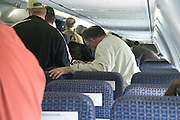 waiting to leave the airplane