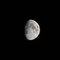 Waxing Gibbous Moon (75%). Autumn Night in New Jersey. Image taken with a Nikon D3s and 600 mm f/4 VR lens.  (ISO 200, 600 mm, f/16, 1/50 sec).