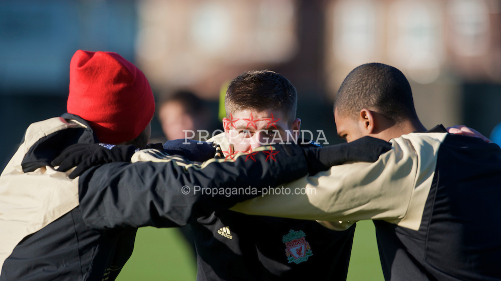 LIVERPOOL, ENGLAND - Tuesday, November 25, 2008: Liverpool's captain Steven Gerrard MBE during training at Melwood ahead of the UEFA Champions League Group D match against Olympique de Marseille . (Photo by David Rawcliffe/Propaganda)