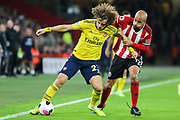 Arsenal defender David Luiz (23) shields the ball from Sheffield United forward David McGoldrick (17) during the Premier League match between Sheffield United and Arsenal at Bramall Lane, Sheffield, England on 21 October 2019.