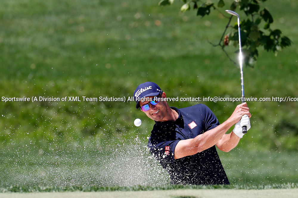 DUBLIN, OH - JUNE 02: PGA golfer Adam Scott hits out of a sand trap on the 4th hole during the Memorial Tournament - Second Round on June 02, 2017 at Muirfield Village Golf Club in Dublin, Ohio (Photo by Brian Spurlock/Icon Sportswire)