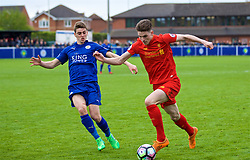 LEICESTER, ENGLAND - Easter Monday, April 17, 2017: Liverpool's Sam Hart in action against Leicester City's Dylan Watts during the Under-23 FA Premier League 2 Division 1 match at Holmes Park. (Pic by Concepcion Valadez/Propaganda)