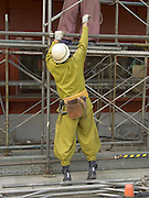 construction workers in traditional construction clothing Japan