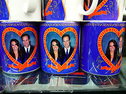 © under license to London News Pictures.  .William and Kate souvenirs ahead of the Royal Wedding in April 2011..Mugs of the Royal Couple.Photo credit should read Craig Shepheard / London News Pictures