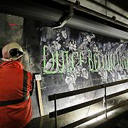 """Nella fotografia: l'opera  di LUDO street artist francese CHIOMONTE (TORINO) -10 ottobre 2016 - inaugurazione di """"Tunnel Art Work"""", primo progetto internazionale di arte nella galleria geognostica in cantiere della linea ferroviaria Tav Torino Lione."""