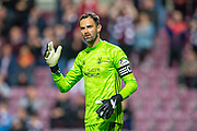 Joe Lewis (#1) of Aberdeen FC during the Betfred Scottish Football League Cup quarter final match between Heart of Midlothian FC and Aberdeen FC at Tynecastle Stadium, Edinburgh, Scotland on 25 September 2019.