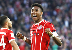 14.04.2018, Allianz Arena, Muenchen, GER, 1. FBL, FC Bayern Muenchen vs Borussia Moenchengladbach, 30. Runde, im Bild David Alaba hat soeben das 4:1 f&uuml;r den FC Bayern erzielt und jubelt // during the German Bundesliga 30th round match between FC Bayern Munich and Borussia Moenchengladbach at the Allianz Arena in Muenchen, Germany on 2018/04/14. EXPA Pictures &copy; 2018, PhotoCredit: EXPA/ Sammy Minkoff<br /> <br /> *****ATTENTION - OUT of GER*****