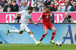 29.03.2014, Allianz Arena, Muenchen, GER, 1. FBL, FC Bayern Muenchen vs TSG 1899 Hoffenheim, 28. Runde, im Bild l-r: im Zweikampf, Aktion, mit Fabian Johnson #16 (TSG 1899 Hoffenheim) und Franck Ribery #7 (FC Bayern Muenchen) // during the German Bundesliga 28th round match between FC Bayern Munich and TSG 1899 Hoffenheim at the Allianz Arena in Muenchen, Germany on 2014/03/29. EXPA Pictures © 2014, PhotoCredit: EXPA/ Eibner-Pressefoto/ Kolbert<br /> <br /> *****ATTENTION - OUT of GER*****