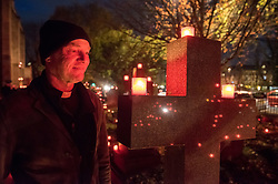 "© Licensed to London News Pictures. 16/11/2019. Bristol, UK. Canon NICK HAY, priest-in-charge of St Paul's Church. ""Light the Night"" in the grounds of St Paul's Church churchyard on Coronation Road with a sea of light as 5,000 candles are lit for the inaugural Light the Night event. Shielded candles were placed around the churchyard by volunteers to create a event for everybody to come and celebrate family and remembrance of loved ones. Attendees could buy and light a candle in remembrance of their loved ones. The event was inspired by the celebrations of All Souls Day and the tradition of Eastern European churches. Photo credit: Simon Chapman/LNP."