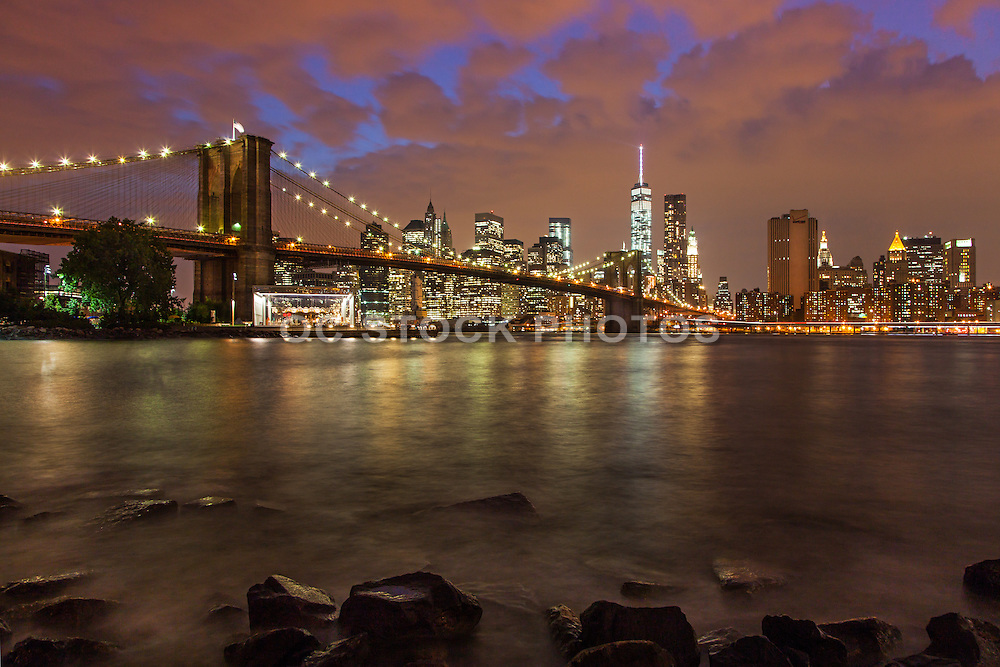 The Brooklyn Bridge and Manhattan Skyline at Dusk
