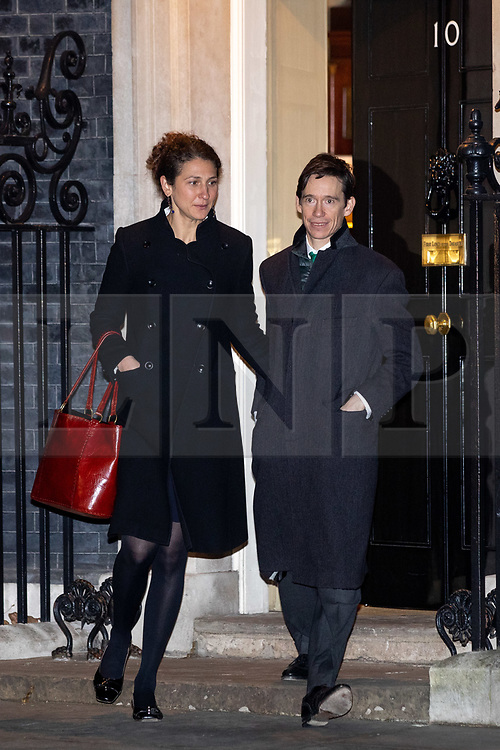 © Licensed to London News Pictures. 07/01/2019. London, UK. Shoshana Clark and Rory Stewart MP (right) leaving 10 Downing Street after attending a drinks reception in Number 10. British Prime Minister Theresa May is currently trying to persuade MPs to back her Brexit withdrawal deal. MPs will be debating the issue this week, with the postponed vote taking place on Tuesday 15th January. Photo credit : Tom Nicholson/LNP
