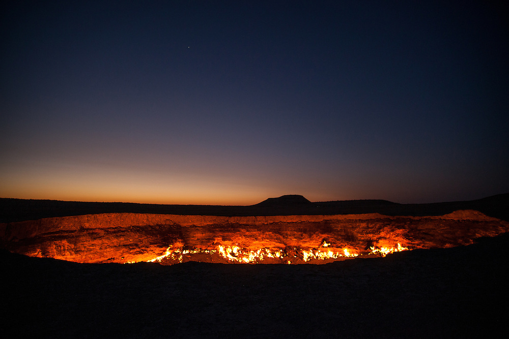The glow from the flames of the Darwaza gas crater in the early hours of morning, Turkmenistan