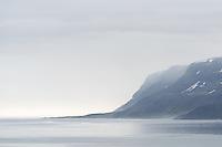 View over Dýrafjörður towards the lighthouse at Fjallaskagi. West fiords of Iceland.