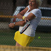 Jutta Apel, Germany, in action with team mate Elsie Crowe, Australia, as they storm to victory in the 80 Womens Doubles Final  during the 2009 ITF Super-Seniors World Team and Individual Championships at Perth, Western Australia, between 2-15th November, 2009.