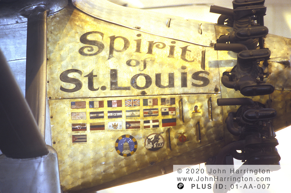 The Spirit of St. Louis hangs from the ceiling of the National Air and Space Museum.