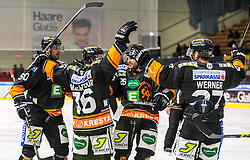 02.10.2015, Eisstadion Liebenau, Graz, AUT, EBEL, EC Graz 99ers vs HDD Olimpija Ljubljana, 7. Runde, im Bild von links Sabahudin Kovacevic (EC Graz 99ers), Peter Mac Arthur (EC Graz 99ers), Patrick White (EC Graz 99ers) und Stephen Werner (EC Graz 99ers) // during the Erste Bank Icehockey League 7th Round match between EC Graz 99ers and HDD Olimpija Ljubljana at the Ice Stadium Liebenau, Graz, Austria on 2015/10/02, EXPA Pictures © 2015, PhotoCredit: EXPA/ Erwin Scheriau