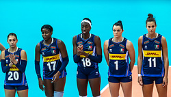 16-10-2018 JPN: World Championship Volleyball Women day 17, Nagoya<br /> Italy - Serbia / Beatrice Parrocchiale #20 of Italy, Miryam Fatime Sylla #17 of Italy, Paola Ogechi Egonu #18 of Italy, Serena Ortolani #1 of Italy, Anna Danesi #11 of Italy