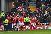 Barnsley FC celebrate goal scored by Barnsley FC midfielder Oliver McBurnie (15) to go 1-1 during the EFL Sky Bet Championship match between Barnsley and Sheffield Wednesday at Oakwell, Barnsley, England on 10 February 2018. Picture by Ian Lyall.